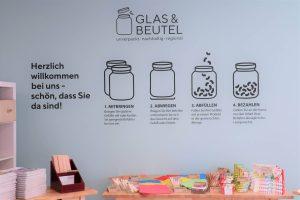 Eine Wand des Unverpacktladens in Nürtingen ist mit Logo und Wiegehinweisen verziert.